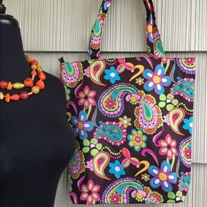 Brown Canvas Tote With Bright Flowers